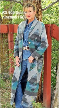 womens Rhonda Stark made in America USA western Indian blanket wool blend winter duster coat