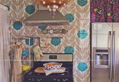 orla kiely wallpaper in kitchen