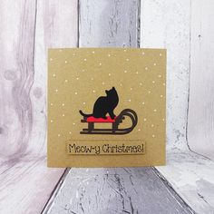 Cat Christmas card Black cat on a sled Sleigh Cat in the | Etsy Christmas Names, Christmas Tree And Santa, Funny Christmas Cards, Christmas Humor, Handmade Christmas, Christmas Fun, Christmas Quotes, Holiday Cards, Anniversary Cards For Couple