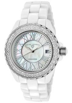 Swiss Legend 20051-WWWSR Watches,Women's Karamica Diamond White Ceramic, Women's Swiss Legend Quartz Watches