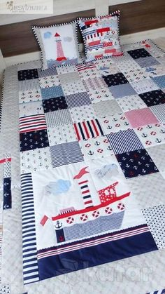 Trendy Ideas for baby items modern Flag Quilt, Cot Quilt, Quilting Projects, Quilting Designs, Nautical Baby Quilt, Baby Diy Projects, Beach Quilt, Patchwork Baby, Baby Boy Quilts