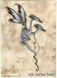 Baby Dragon Amy Brown | Amy Brown Print 5x7 Postcard Key Critter VI Two Headed Dragon Flying ...