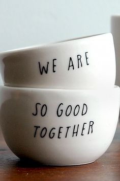His and hers cereal bowls—Cute bridal shower gift.