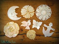 Vintage carved mother of pearl buttons at facebook.com/littlebuttonroom