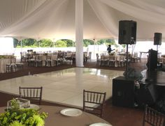 Wedding reception decor ideas | Outdoor dance floors, White flowers ...
