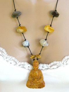 Yellow Jade Buddha Pendant Necklace Gemstone Leather Long Handmade - Blonde Peach Jewelry