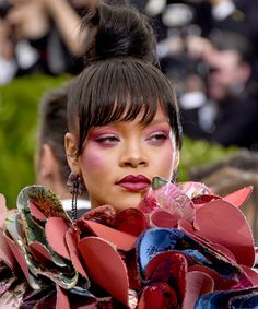 Rihanna's Color-Block Makeup Stole the 2017 Met Gala Red Carpet from InStyle.com