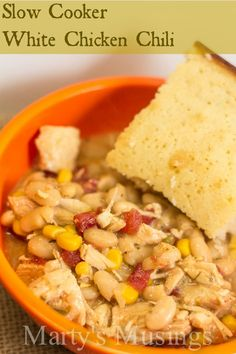 Slow Cooker White Chicken Chili...serve with a side of cornbread for a delicious meal.  From Marty's Musings.
