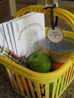 Like Easter basket- kids wake up on conference morning to a basket of treats and things to do during conference. Good way to get kids excited for conference.