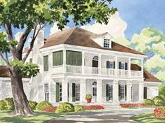 Home Plans HOMEPW24250 - 3,758 Square Feet, 5 Bedroom 4 Bathroom Plantation Home with 2 Garage Bays
