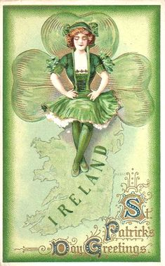 Patrick's Day Greetings ~ vintage postcard with green fairy over a shamrock & map of Ireland St Patrick's Day, Vintage Greeting Cards, Vintage Postcards, Fete Saint Patrick, Printable Images, Printable Vintage, Free Printable, St Patricks Day Cards, St Patricks Day Pictures