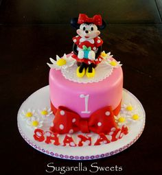 beautiful cake for kids with the theme Minnie mouse.  www.SugarellaSweets.com