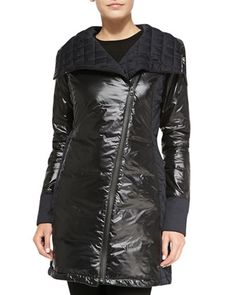 Cassidy Asymmetric-Zip Mid-Length Jacket by Canada Goose at Neiman Marcus. Sz Large, Black