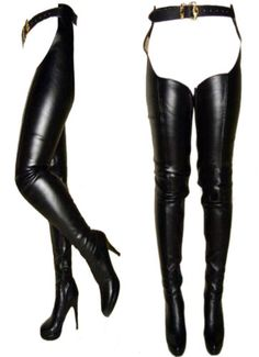 Tailor Made Faux leather extra tall thigh high Chap boots Euro size 36 to 45 Thigh High Heels, Sexy High Heels, High Heel Boots, High Leather Boots, Leather Pants, Black Leather, Crotch Boots, Botas Sexy, Long Boots