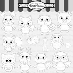 Forest Friends Stamps - 13 graphics.  Great for card making and crafts.