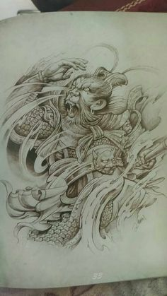 Monkey King Japanese Tattoo Art, Japanese Tattoo Designs, Dali Tattoo, Buddha Tattoos, King Tattoos, Fresh Tattoo, Oriental Tattoo, Monkey King, Skull Art