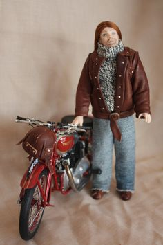 Mike is a biker with jacket boots and helmet in real by minis2you