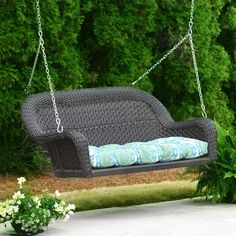 Whether you use this Savannah Brown Wicker Porch Swing on your balcony or your screened in porch, your family is sure to love it! It includes two suspension chains with hooks to make it easy to hang. Rental Decorating, Porch Decorating, Decorating Tips, Wicker Porch Swing, Outdoor Seating, Outdoor Decor, Outdoor Projects, White Wicker, Patio Chairs