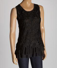 Black Crochet Linen-Blend Tank | zulily