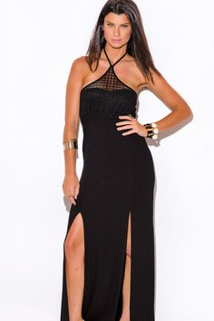 CHARMED LIFE | black lace halter double slit summer jersey maxi sun dress - 1015store.com