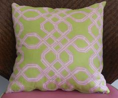 "Lilly Pulitzer 19"" pillow in Pink and Green Well Connect"