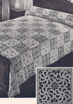 Vintage Crochet PATTERN to make Bedspread Motif Block Design Early American