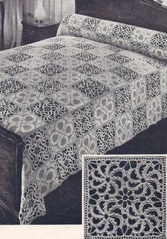 Stepping Stones Filet Wheel bedspread pattern for sale on Vintage Home Arts