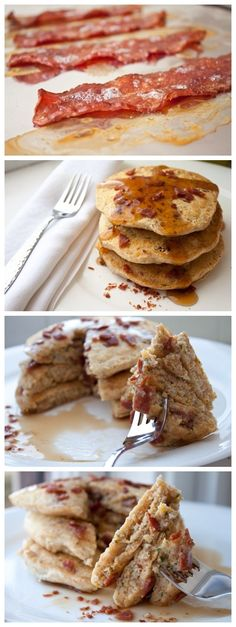 Oh. Dear. God. Where have you been all my life? Bacon Parmesan Cornmeal Pancakes
