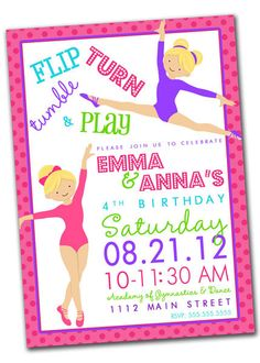Printable Gymnastics Tumbling Birthday Party Invitation 4th Parties Fun Ideas
