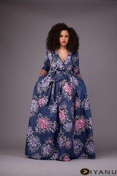 Unique Maxi Ankara Dress at Diyanu African Maxi Dresses, Latest African Fashion Dresses, African Dresses For Women, African Attire, African Print Dress Designs, African Print Skirt, African Inspired Fashion, African Print Fashion, Fashion Models