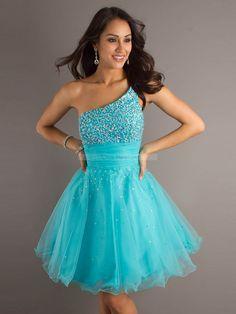 Sky blue sparkles homecoming dress! MODEST!