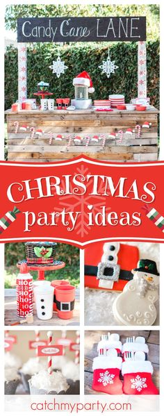 Don't miss this adorable Candy Cane Lane Christmas party! The cookies are gorgeous!!  See more party ideas and share yours at CatchMyParty.com  #christmas #holidays #party