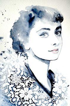 Hollywood Glam Audrey Hepburn Original Watercolor - Vintage Portrait Illustration - Hollywood Glam - Fashion Forever