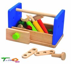 Wonderworld Wooden Play Work Bench Tools Boxes Toys Dexterity Skills Preschool #Wonderworld