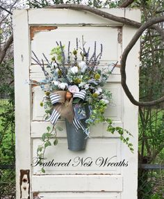 Spring Door Wreath Cotton Boll Wreath by FeatheredNestWreaths