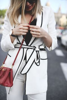 black, white, and a pop of red