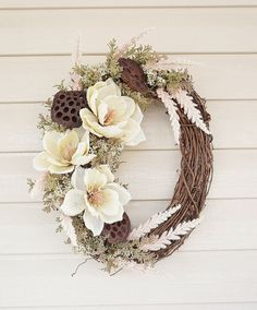 Door Wreath with Burlap Magnolias in Cream and Pink with Lace and Dried Lotus Pods, Unique Wreath, Floral Wreath, Spring Wreath