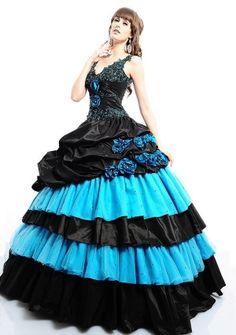 Ball Gown V-neck Floor-length in Taffeta Quinceanera Dress