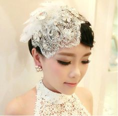 The bride headdress Korean manual custom lace wedding headdress flower hat tassels Eden pearl wedding hair accessories $26.00