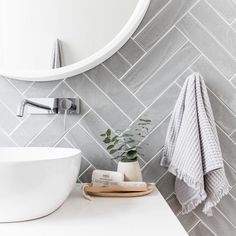 Grey herringbone tile bathroom wall - April 13 2019 at Laundry In Bathroom, Bathroom Renos, Bathroom Inspo, Bathroom Renovations, Bathroom Interior, Bathroom Inspiration, Bathroom Ideas, Grey Bathroom Tiles, Grey Bathroom Decor