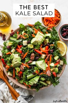 This kale salad recipe is loaded with colorful vegetables, sweet cranberries, crunchy pecans, creamy cheddar cheese and the best homemade dressing ever! It's a hearty salad that holds up well and will impress even kale skeptics. Salad Recipes Gluten Free, Delicious Recipes, Real Food Recipes, Tasty, Healthy Recipes, Best Kale Salad Recipe, Kale Salad Recipes, Salad Dressing Recipes, Party Recipes