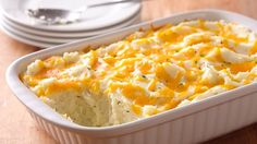 Bring back memories of grandma's hearty meals with this cheesy mashed potato casserole. You'll love the make-ahead tip.