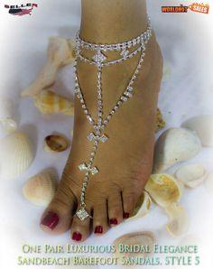 FABULOUS 1 PAIR Barefoot Rhinestone Beach Sandals, STYLE 5/USA Seller #WHS