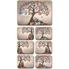 Lisa Pollock Tree of Dreams placemats and coasters, set of 6 Coasters, Lisa, Dreams, Design, Drink Coasters, Design Comics, Coaster Set