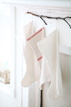 Image detail for -Antique French Linen Christmas Stockings }