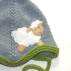 Grey and green baby hat with white sheep baby pilot hat by Tuttolv, $20.00