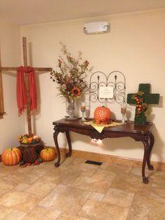 Church foyer fall decoration