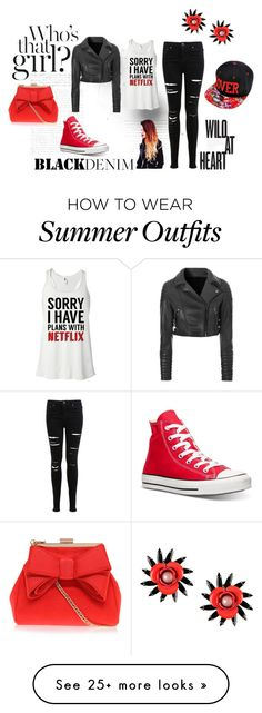 """""""Red and Black"""" by ashcator2002 on Polyvore featuring Miss Selfridge, Glamorous, Converse, Miss KG, MSGM, women's clothing, women's fashion, women, female and woman"""