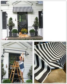 DIY Cloth Awning Tutorial ... a simple welded frame & some outdoor fabric to create an awning for her front door ................. #DIY #awning #metalbar #outdoorfabric #sewing #dropcloth #painterstape #outdoor #curbappeal #decor #crafts
