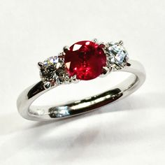 Classic #ruby and #diamond trilogy designer #ring
